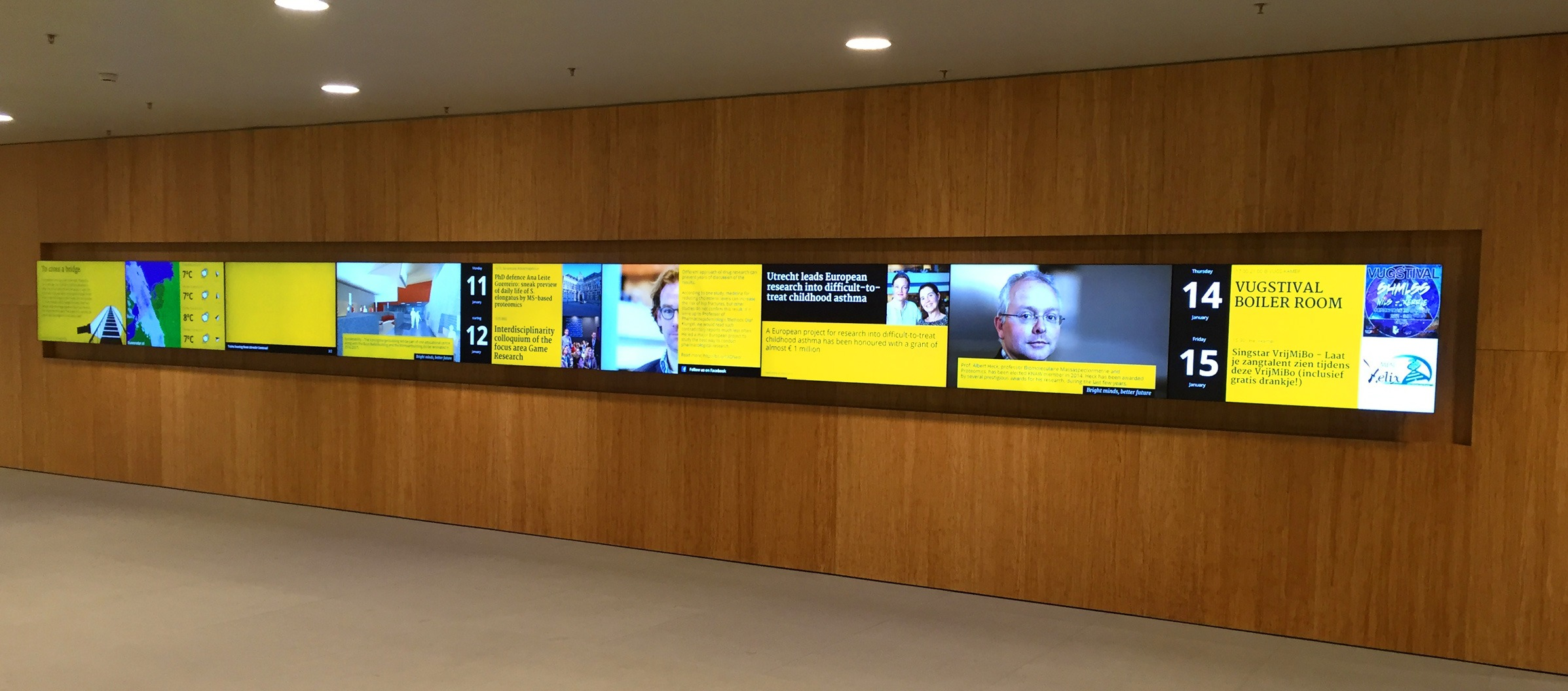 Utrecht University Koningsberger 9x1 video wall