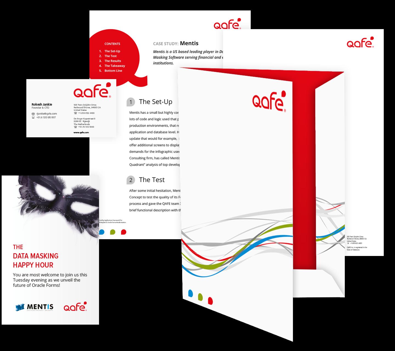 voorbeelden van de Qafe huisstijl, website en apps