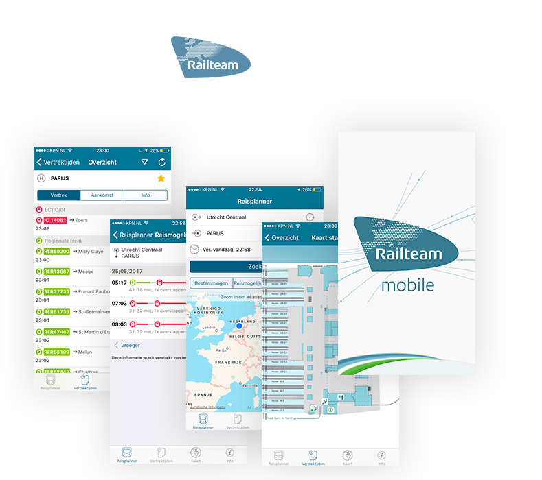 Railteam mobile app schermen